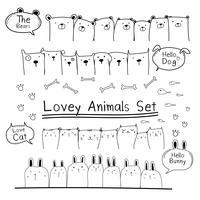 Hand getrokken Doodle schattige dieren Set. Inclusief beer, kat, konijn en honden. Vector illustratie.