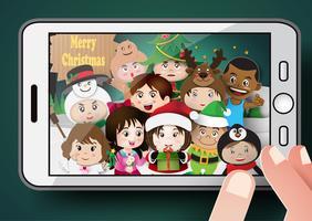 Kerst schattige kinderen vector