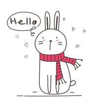Schattig konijntje met zeg hallo voor uw ontwerp. Vector illustratie