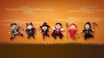 kinderen in kostuums van Halloween. vector