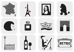 Parijs, Frankrijk Vectorelementen Pack