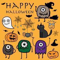 Hand getrokken monsters Halloween vectorillustratie.