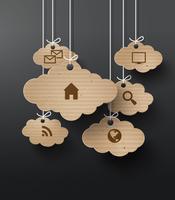 Vector kartonnen afbeeldingen met wolk van programmasymbolen