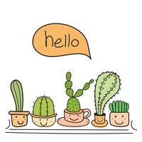 Leuke cactus met blij gezicht zeg hallo. vector illustratie set.