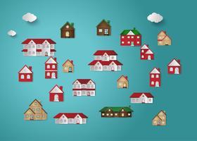 Huis papier gesneden set vector