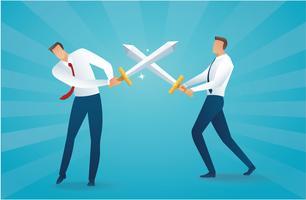 zakenman vechten met zwaarden bedrijfsconcept