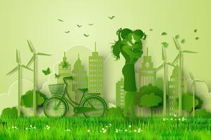 concept van eco met familie