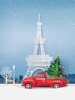 papieren kunst van het winterseizoen en vrolijk kerstfeest