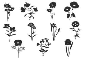 Zwart en wit bloemen Vector Pack