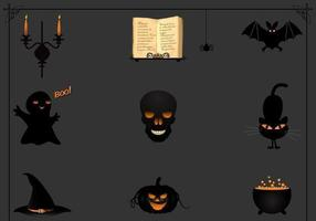 zwarte halloween pictogram vector pack