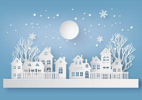 Wintersneeuw Stedelijk Platteland Landschap vector