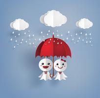 Japanse papieren pop tegen regen, teruterubozu vector