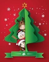 vrolijk kerstfeest wenskaart met kinderen