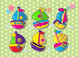 set van zeilboot. Vector cartoon stijl sticker.