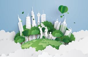 groene stad met familie vector