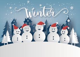 Winterseizoen en Merry Christmas met sneeuw man vector
