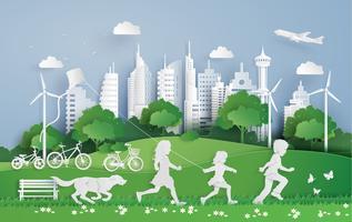 kinderen rennen in het stadspark vector