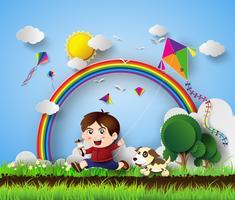 kind spelen met kite vector