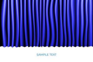 Blauwe gordijn theater scène fase achtergrond. Achtergrond met luxe zijde fluweel. Witte Copyspace.