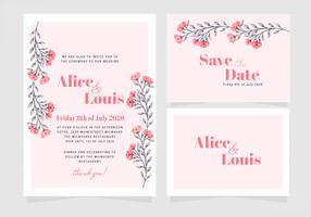Vector roze bloemen bruiloft uitnodiging