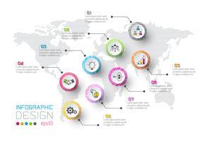Zakelijke infographic met 8 stappen. vector