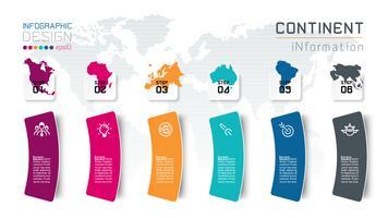 Continentale infographicsinformatie over vector grafisch art.
