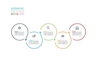 Cirkel label infographic met stap voor stap. vector