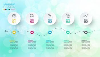 Infographicsontwerp op bokeh abstracte achtergrond.