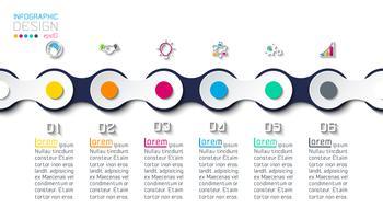 Zeven cirkels met bedrijfspictograminfographics op de achtergrond van de wereldkaart.