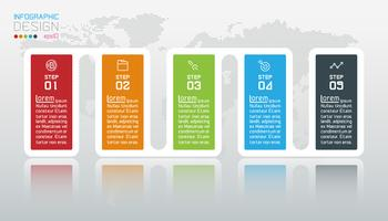 Zakelijke infographic met 5 stappen. vector