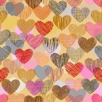 Kleurenkrabbel in hartvorm met naadloze achtergrond. vector