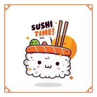 kawaii sushi vector