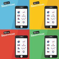 Smartphone met stat pictogram op verschillende achtergrond vector