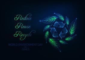 Futuristische wereld dag webbanner met recycling teken, groene blad krans en slogan