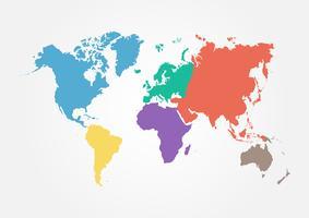 Vectorwereldkaart met continent in verschillende kleur. plat ontwerp .