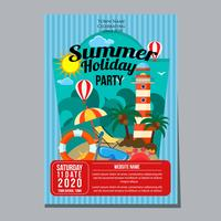 zomer vakantie partij poster sjabloon vuurtoren strand thema vector