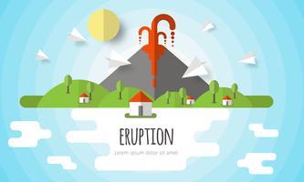 Vectorillustratie van een vulkaanuitbarsting