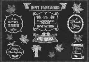 Krijt Getekend Thanksgiving Vector Pack