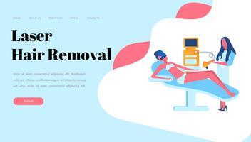 Web-pagina ontwerpsjablonen voor laser ontharing, cosmetologie, geneeskunde. Moderne illustratieconcepten voor website en mobiele websiteontwikkeling vector