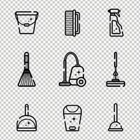 Vector set van plat pictogrammen voor het reinigen van gereedschappen