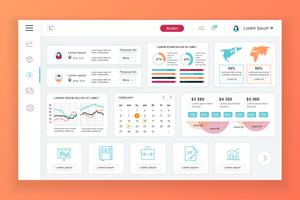 Dashboard admin vector ontwerpsjabloon