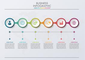 Visualisatie van bedrijfsgegevens. tijdlijn infographic pictogrammen ontworpen voor abstracte achtergrond sjabloon
