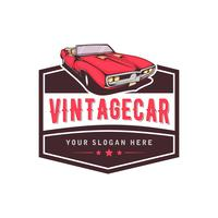 Een sjabloon van klassiek of vintage of retro auto logo-ontwerp. vintage-stijl vector