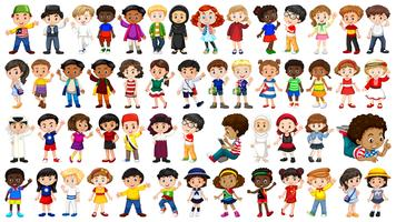 Set van internationale kinderen karakter vector