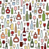 Wijnfles, wijnglas tegelpatroon. Drink wijn partij achtergrond vector