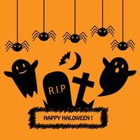 Gelukkige Halloween-kaart met zwarte silhouetten op oranje achtergrond