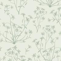 Floral verlaat naadloze patroon. Wilde aardachtergrond. Floreer behang met planten. vector