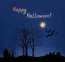 Halloween-wenskaartachtergrond. Vakantielandschap met graf