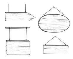 Set van stijlvolle doodle houten verkeersbord en pijl. Retro plankuithangbord