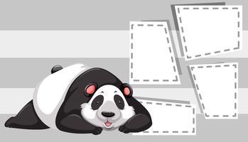 Panda op notitie sjabloon vector